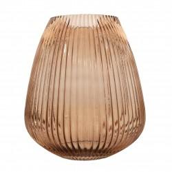 kaarshouder/vaas uit glas mokka Ø 24.5cm H 28cm  Point-Virgule