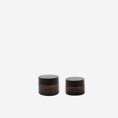 Set van 2 cosmetica potjes uit glas amber 50 & 100ml