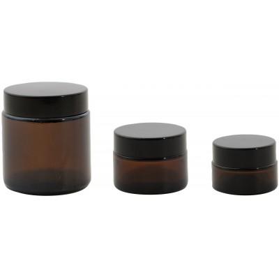 Set van 3 cosmetica potjes uit glas amber 20, 30 & 100ml  Point-Virgule