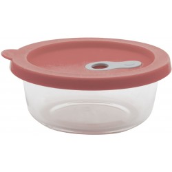 ronde glazen voorraaddoos met silicone deksel roze 360ml  Point-Virgule