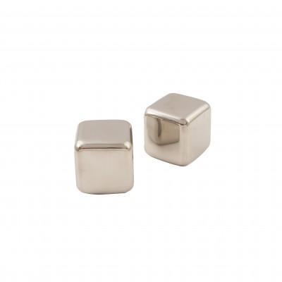 set van 2 herbruikbare ijsblokjes uit rvs met zakje 4x4x4cm  Point-Virgule