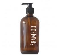 Boston fles uit glas met pomp amber Shampoo 500ml