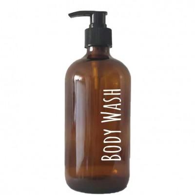 Boston fles uit glas met pomp amber Body Wash 500ml  Point-Virgule