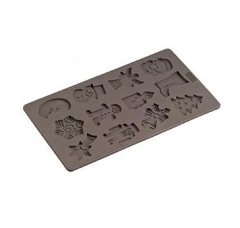 Flexiform bakvorm voor 12 koekjes in winterthema 17x30cm  Lurch