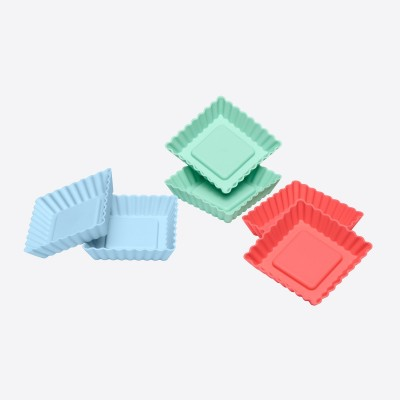 Lurch Flexiform 6 flanvormen uit silicone groen, blauw en rood 8.4x8.4x1.9cm