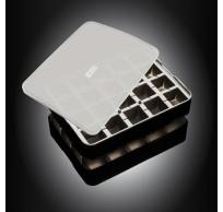 ijsblokjesvorm uit silicone kubus met deksel zwart 3x3cm