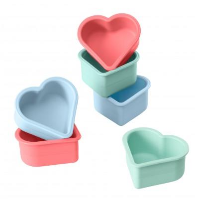 Lurch Flexiform set van 6 muffinvormen silicone hart roze en blauw 7.5x7.1x3.6cm