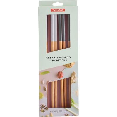 World Foods 4 sets van 2 eetstokjes uit bamboe grijs en blauw 24cm