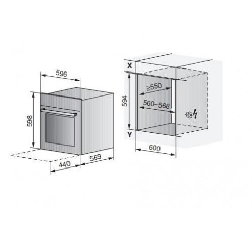 Combair SLP 60cm Spiegelglas - Zwarte designgreep  V-ZUG
