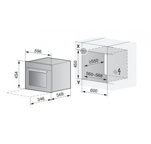 Combair XSL 45cm Spiegelglas - Verzinkbare handgreep  V-ZUG