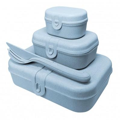 Pascal Ready Organic lunchbox + bestek Blauw