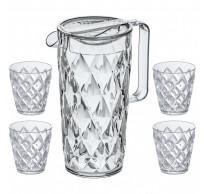 Crystal Waterkan 1,6L met 4 glazen