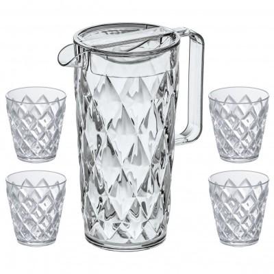 Crystal Waterkan 1,6L met 4 glazen  Koziol