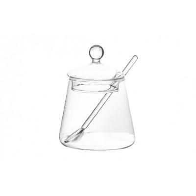 POTJE MET LEPEL GLAS D6.5XH12CM  Cosy & Trendy