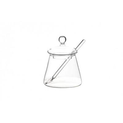 POTJE MET LEPEL GLAS D5.5XH10CM  Cosy & Trendy