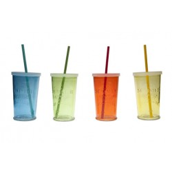 SUMMER PARTY GLAS D9XH14.5CM SET 4 ASS