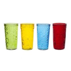TIKI DRINKGLAS 9X16CM GEKLEURD SET4  Cosy & Trendy