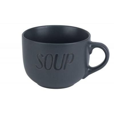 SOUP DARK GREY BEKER 'SOUP' D11XH8,5CM