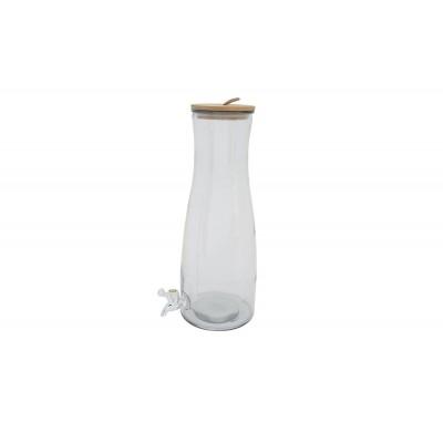 SAPDISPENSER GLAS HOUTEN DEKSEL H 42 CM-  Cosy & Trendy
