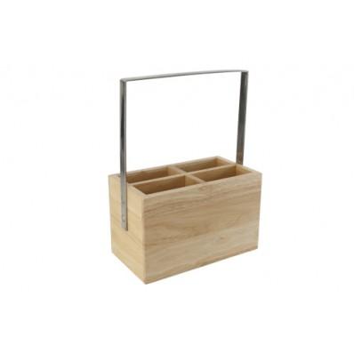 Bestekhouder 18,4x10xh24,6cm Rubberhout