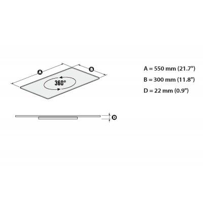 Rotabase Elite medium turning base tv steel stand gehard glas shelf 55x30cm zwart  Meliconi
