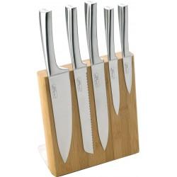 magnetische messenblok uit bamboe met 5 messen  Jean Dubost