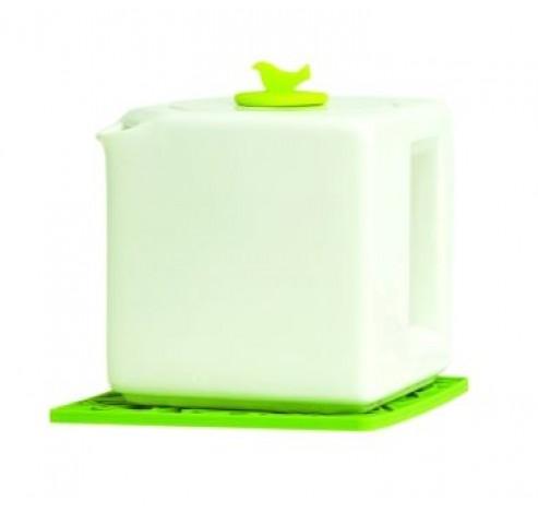 4-kops theepot kubus wit met groene dop  Make My Day