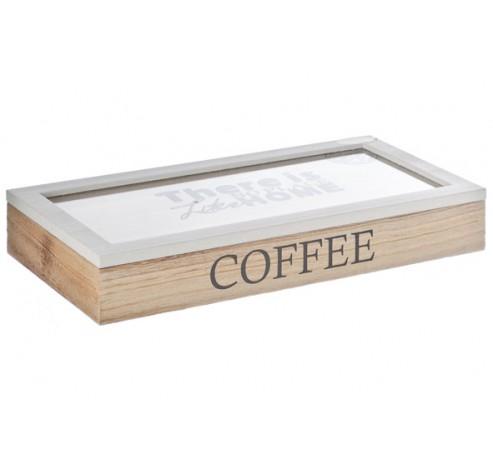 COFFEE BOX HOUT 34,5X17,5XH5CM WIT NATUU  Cosy @ Home