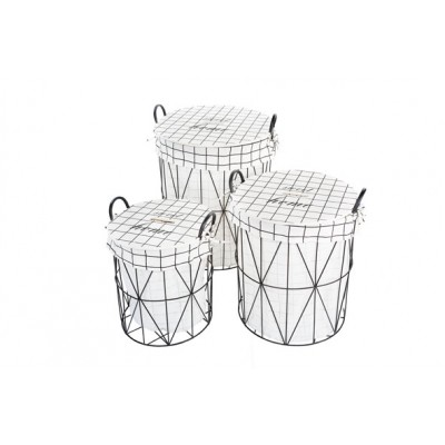 LINNENMAND SET3 ROND FRAME MET STOF  Cosy @ Home