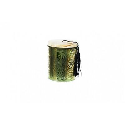 Kaars In Pot Groen Glas 9x9xh11cm