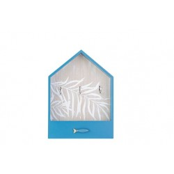 SLEUTELBORD FISH BLAUW 25X7XH34,5CM HOUT  Cosy @ Home