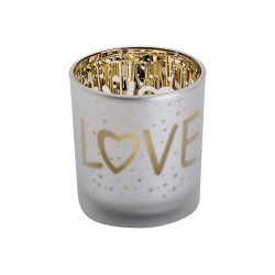 THEELICHTHOUDER LOVE GOLD WIT D7XH8CM GL  Cosy @ Home