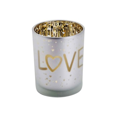 THEELICHTHOUDER LOVE GOLD WIT D10XH12CM  Cosy @ Home