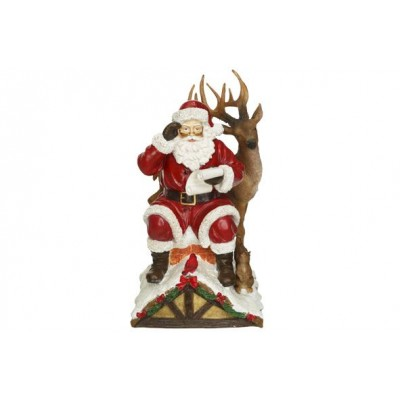 KERSTMAN WITH DEER ON ROOF ROOD 16X17XH2