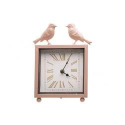 KLOK BIRDS ROZE 18X6,3XH22,7CM METAAL  Cosy @ Home