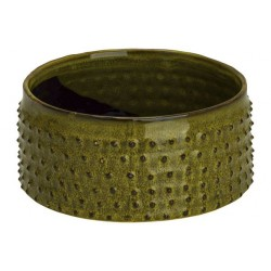 BOWL GLAZED EMBOSSED DOTS GROEN 19,5X19,  Cosy @ Home