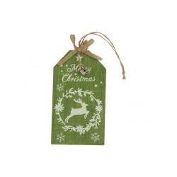 HANGER MERRY CHRISTMAS GROEN 8,5XH15CM H