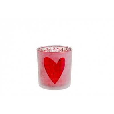 THEELICHTHOUDER LOVE ROOD 7X7XH8CM ROND  Cosy @ Home
