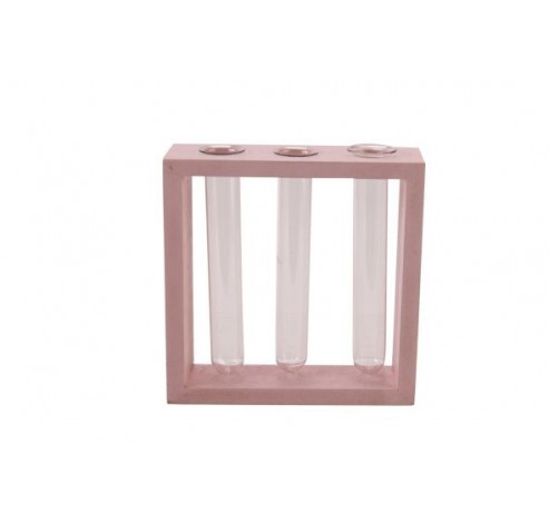 HOUDER 3 GLASS TUBES ROZE 13X4XH13CM HOU  Cosy @ Home