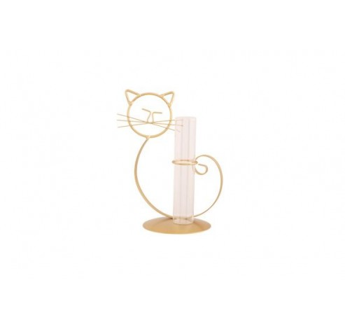 HOUDER CAT 1X GLASS TUBE GOUD 14X10,5XH2  Cosy @ Home