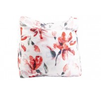 POEF PINK FLOWERS WIT 55X55XH38CM POLYES