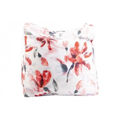 POEF PINK FLOWERS WIT 55X55XH38CM POLYES  Cosy @ Home