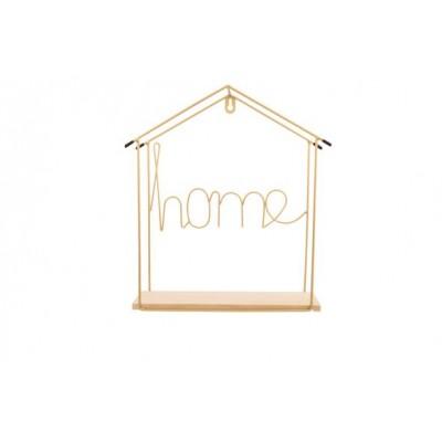 MUURDECO HOUSE WOOD BASE GOUD 29,5X9,5XH  Cosy @ Home