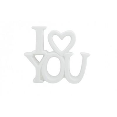 ORNAMENT I LOVE YOU MATT  WIT 10,2X2,5XH  Cosy @ Home