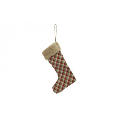 KERSTSOK SQUARES ROOD GROEN 21X2XH36CM