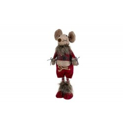 KERSTFIGUUR MOUSE BOY BORDEAUX 14X12XH32