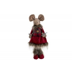 KERSTFIGUUR MOUSE GIRL BORDEAUX 18X14XH4  Cosy @ Home