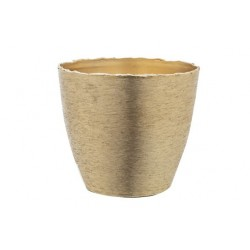 POTJE BRUSHED GOUD 14X14,5XH13CM ROND AL  Cosy @ Home