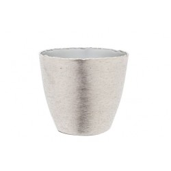 POTJE BRUSHED ZILVER 14X14,5XH13CM ROND  Cosy @ Home