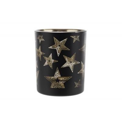 THEELICHTHOUDER STAR MAT ZWART 6X6XH7,5C